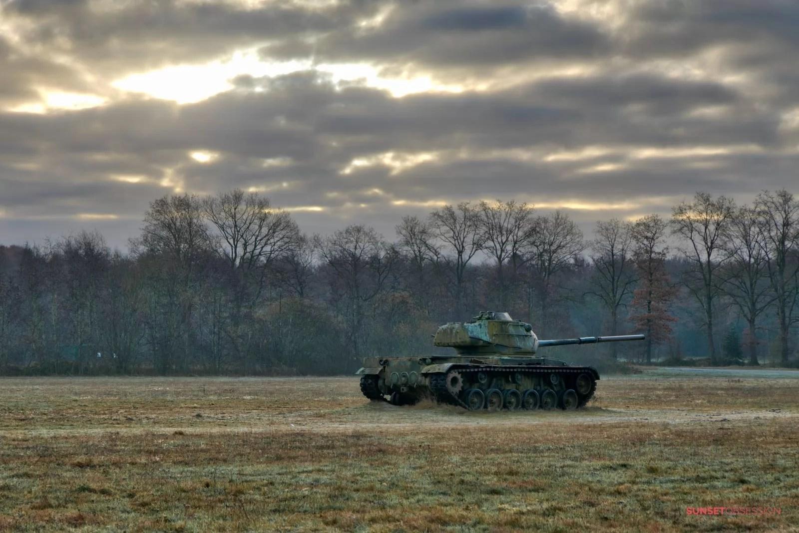 Gloomy winter skies above the war machines