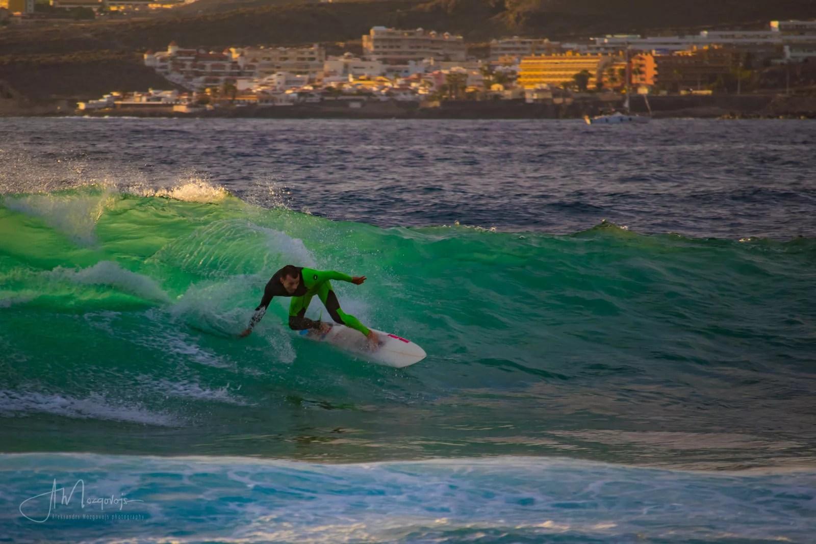 Surfer at Las Americas beach