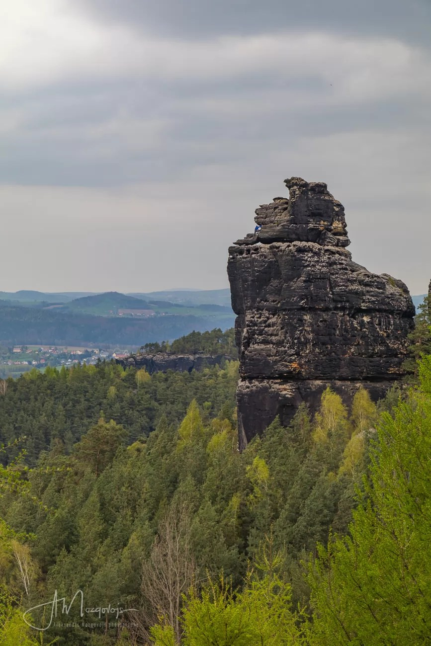 A lonely rock at Papstein rock formation, Saxon Switzerland, Germany