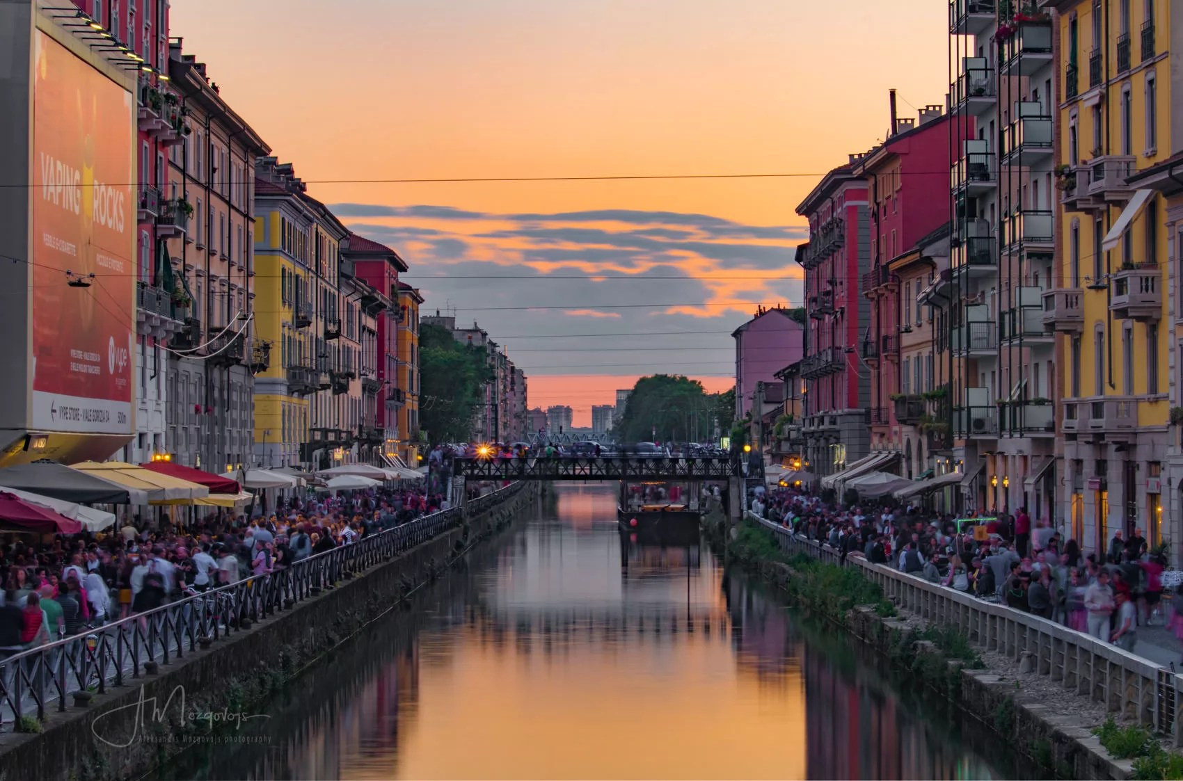 Naviglio Grande calan is a great place for photography in Milan