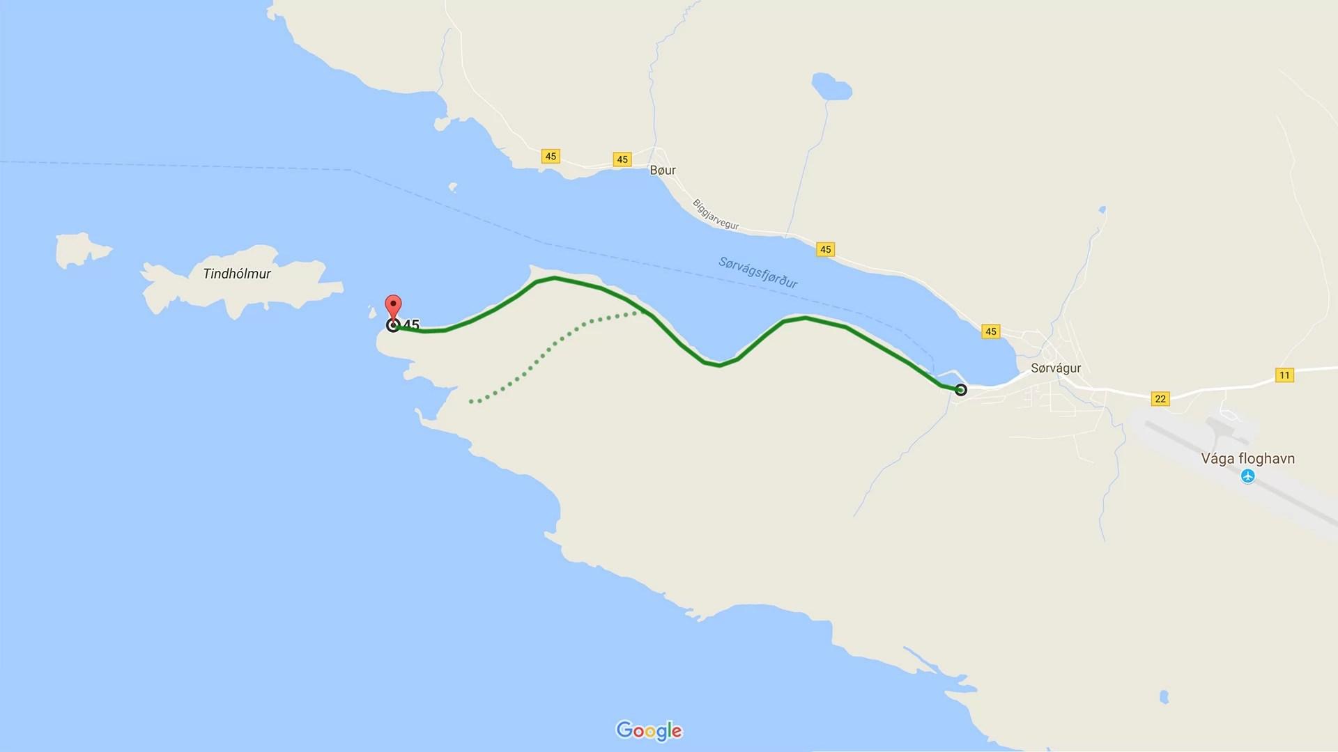 Rough map of the hike to Drangarnir