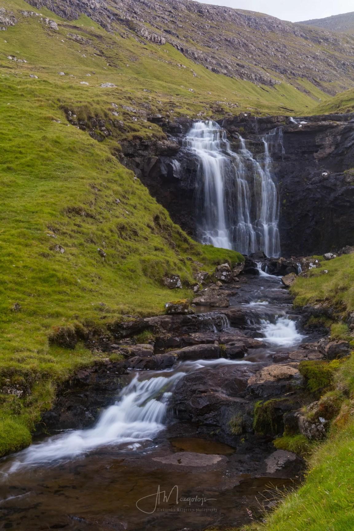Unknown waterfall on the hike to Drangarnir, Vagar, Faroe Islands