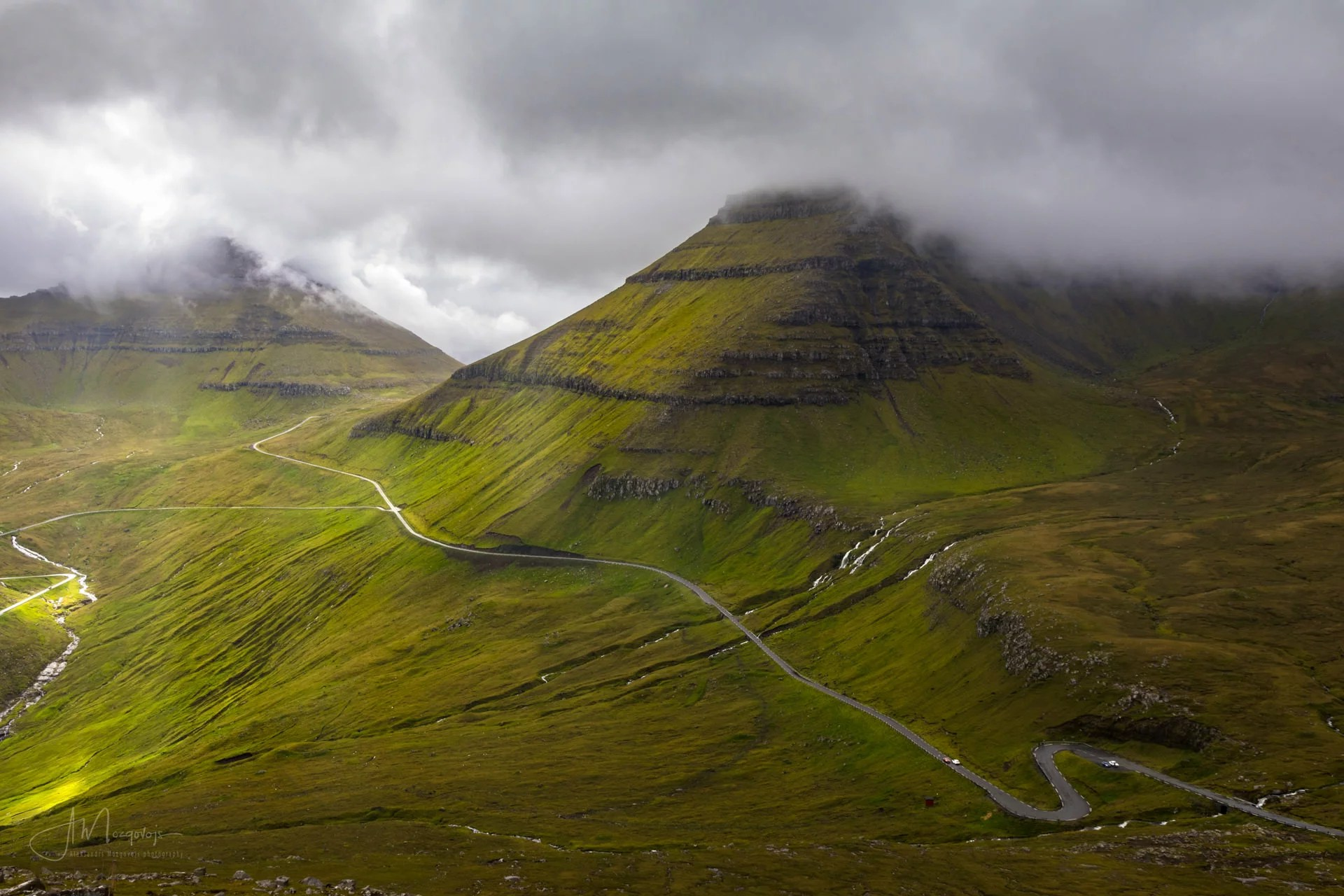 View of the S-curve from the hike to the mountain ridge on Eysturoy, Faroe Islands