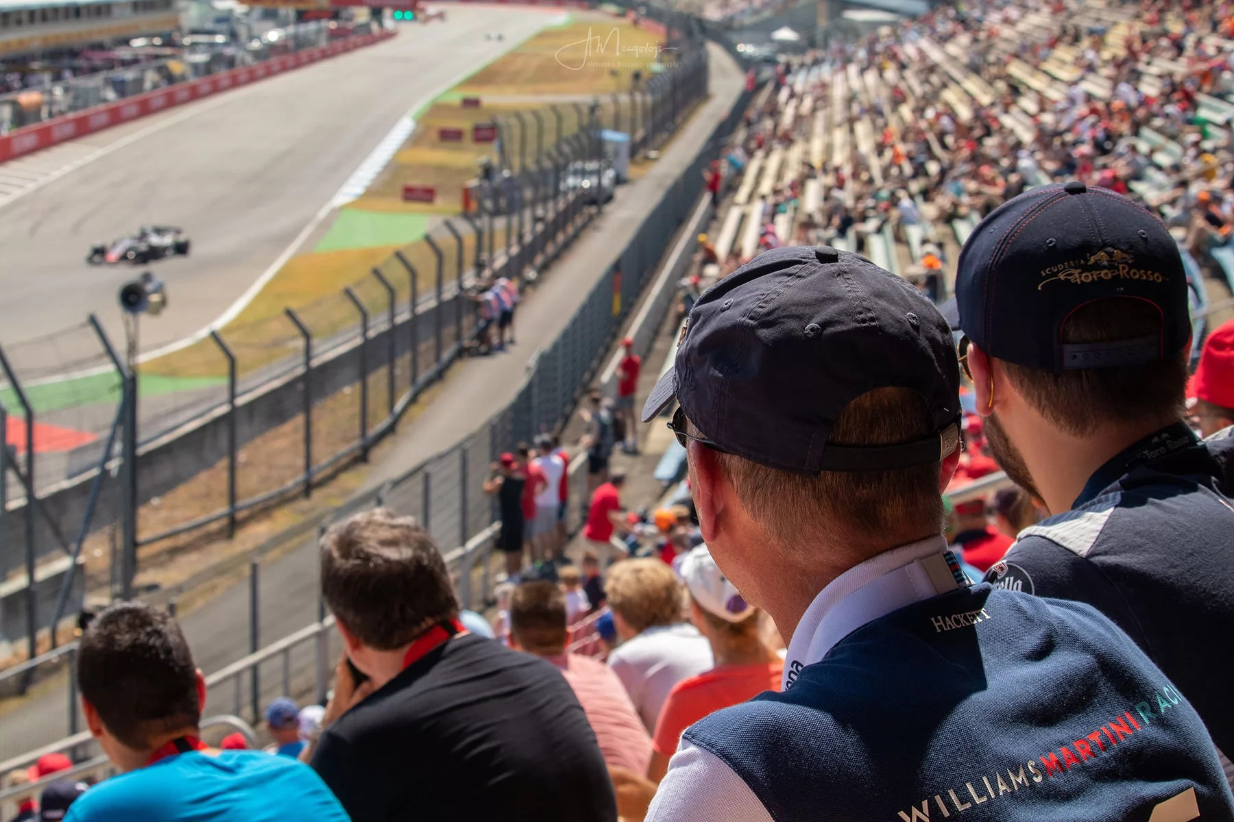 Fans watching the Friday practice session
