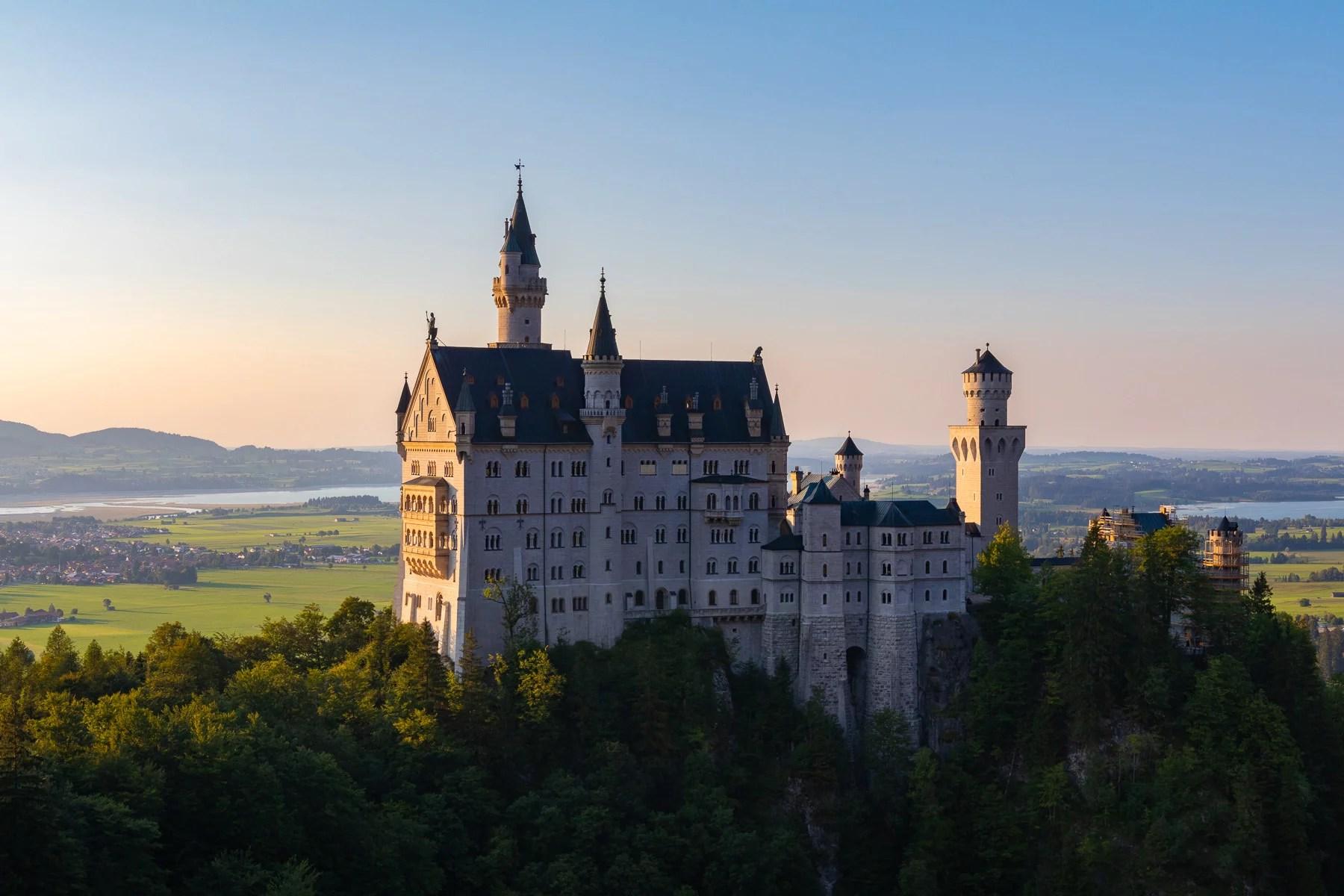 An afternoon view of castle Neuschwanstein from the Marienbrücke bridge