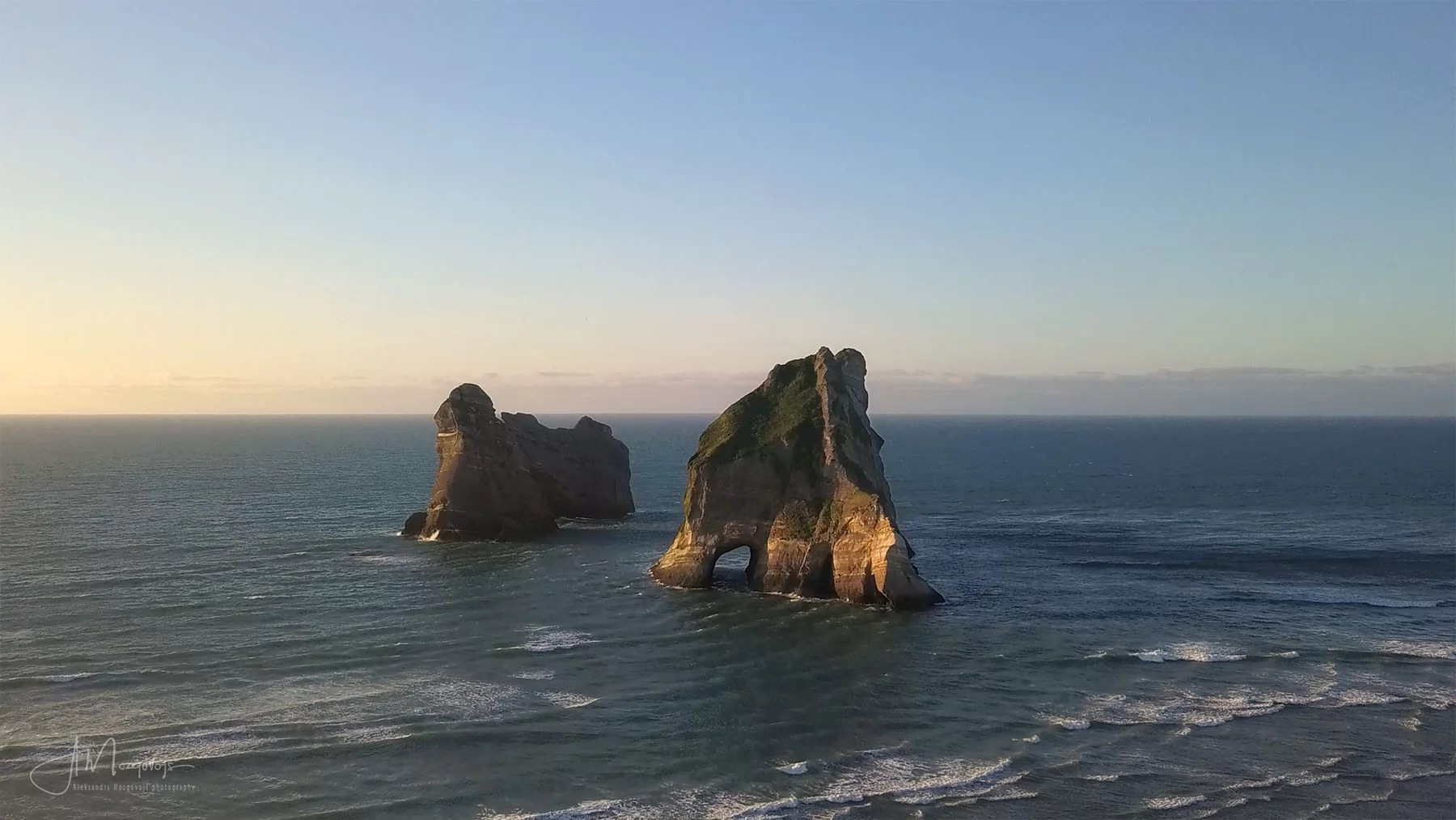 Drone shot of the Wharariki Beach