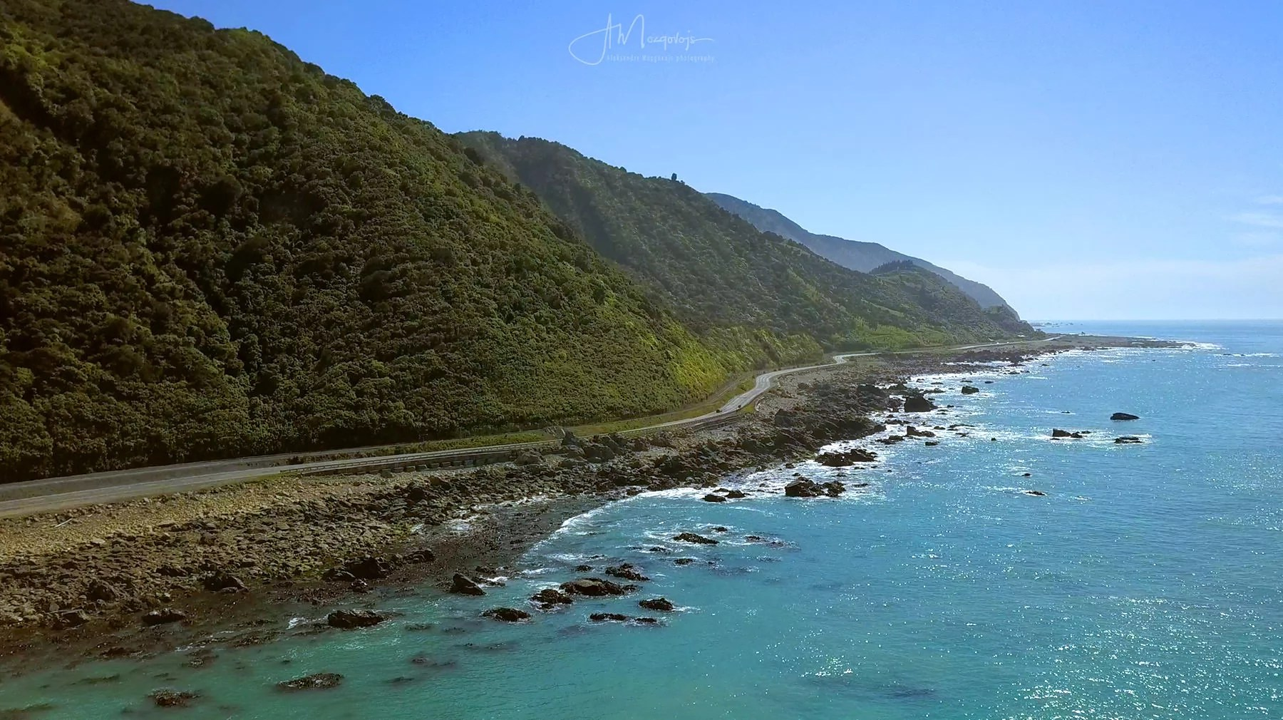 Coastal road north of Kaikoura, New Zealand