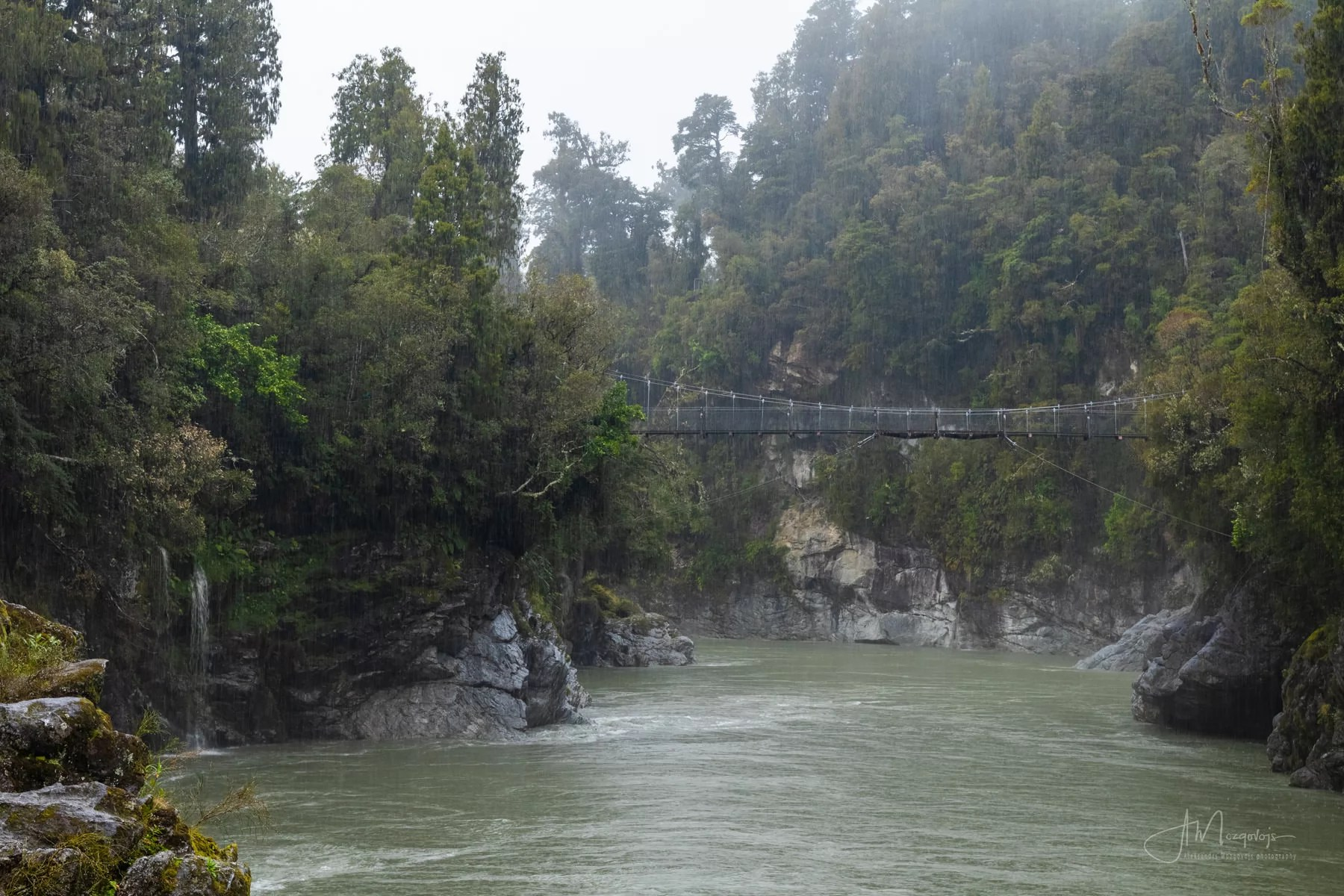 Hokitika gorge under pouring rain