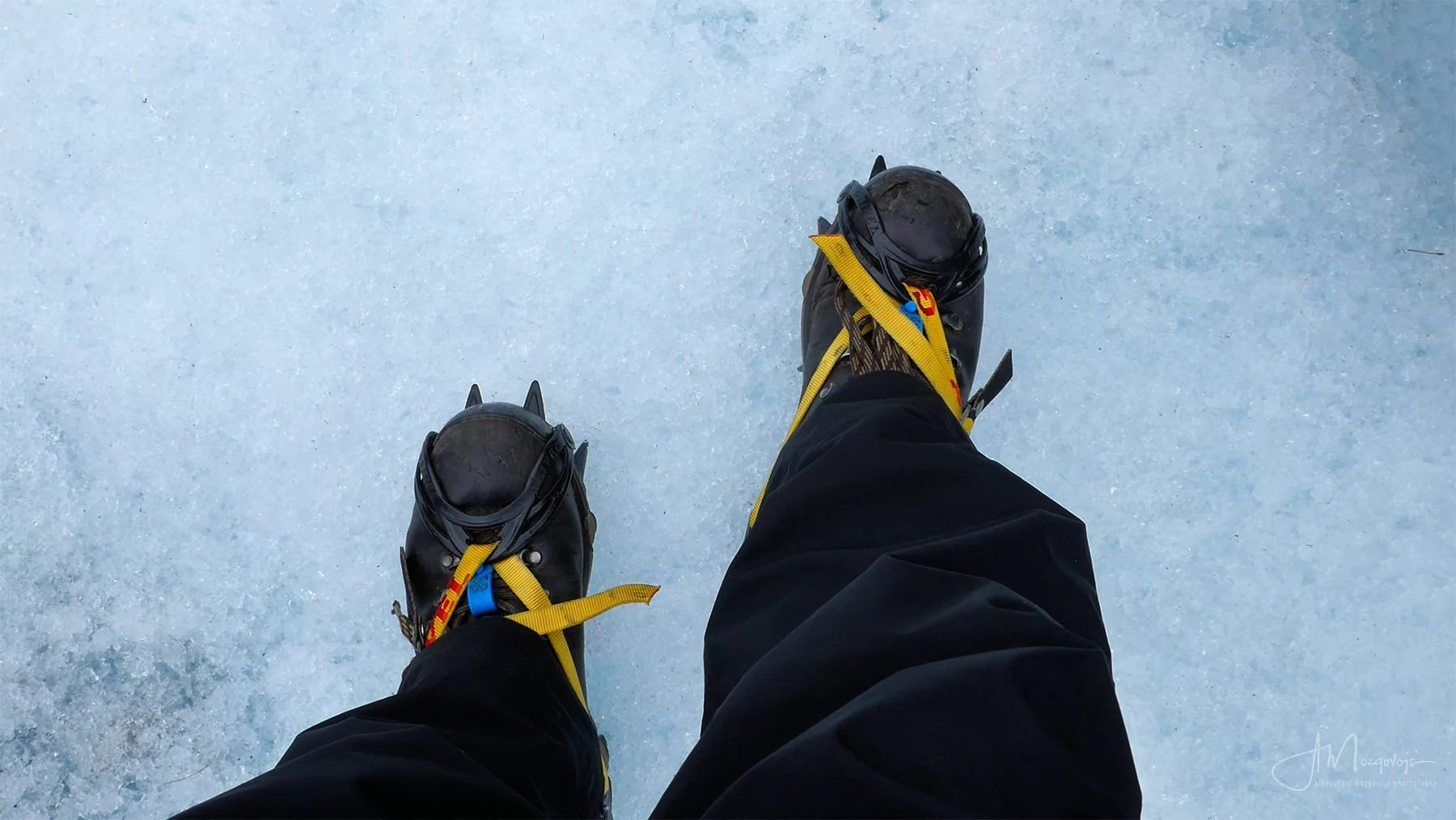 Crampons on at Fox Glacier hell hike