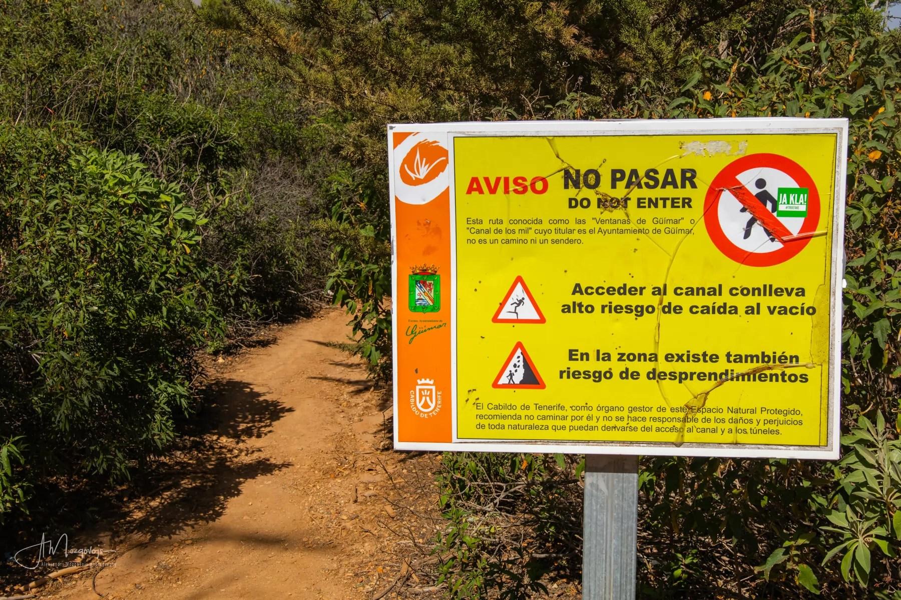 Warning sign at the entrance