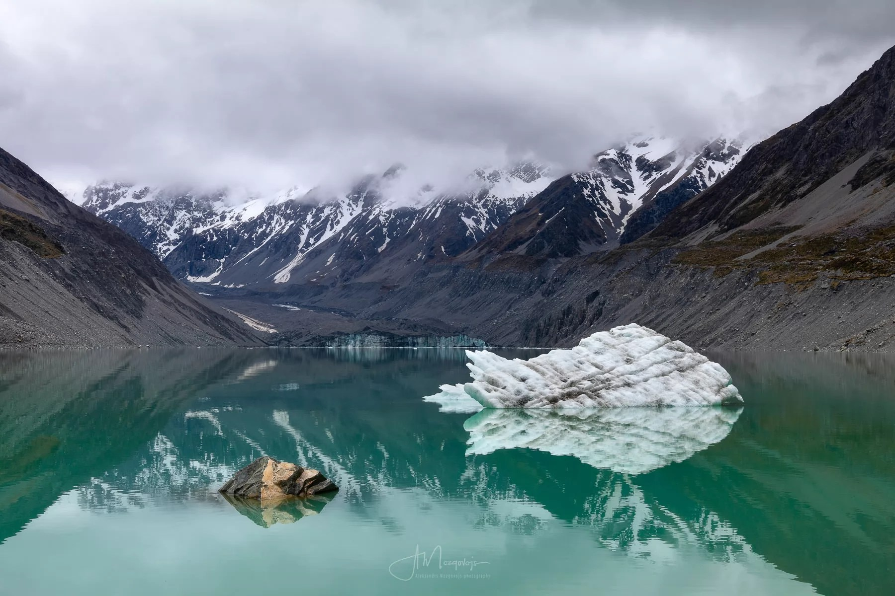 Fish-looking iceberg in Hooker Lake, New Zealand