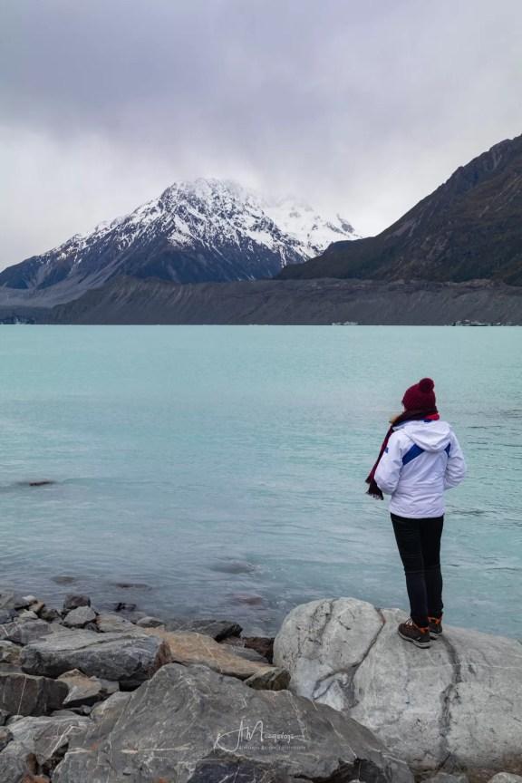 Вид на озеро Тасман в Новой Зеландии