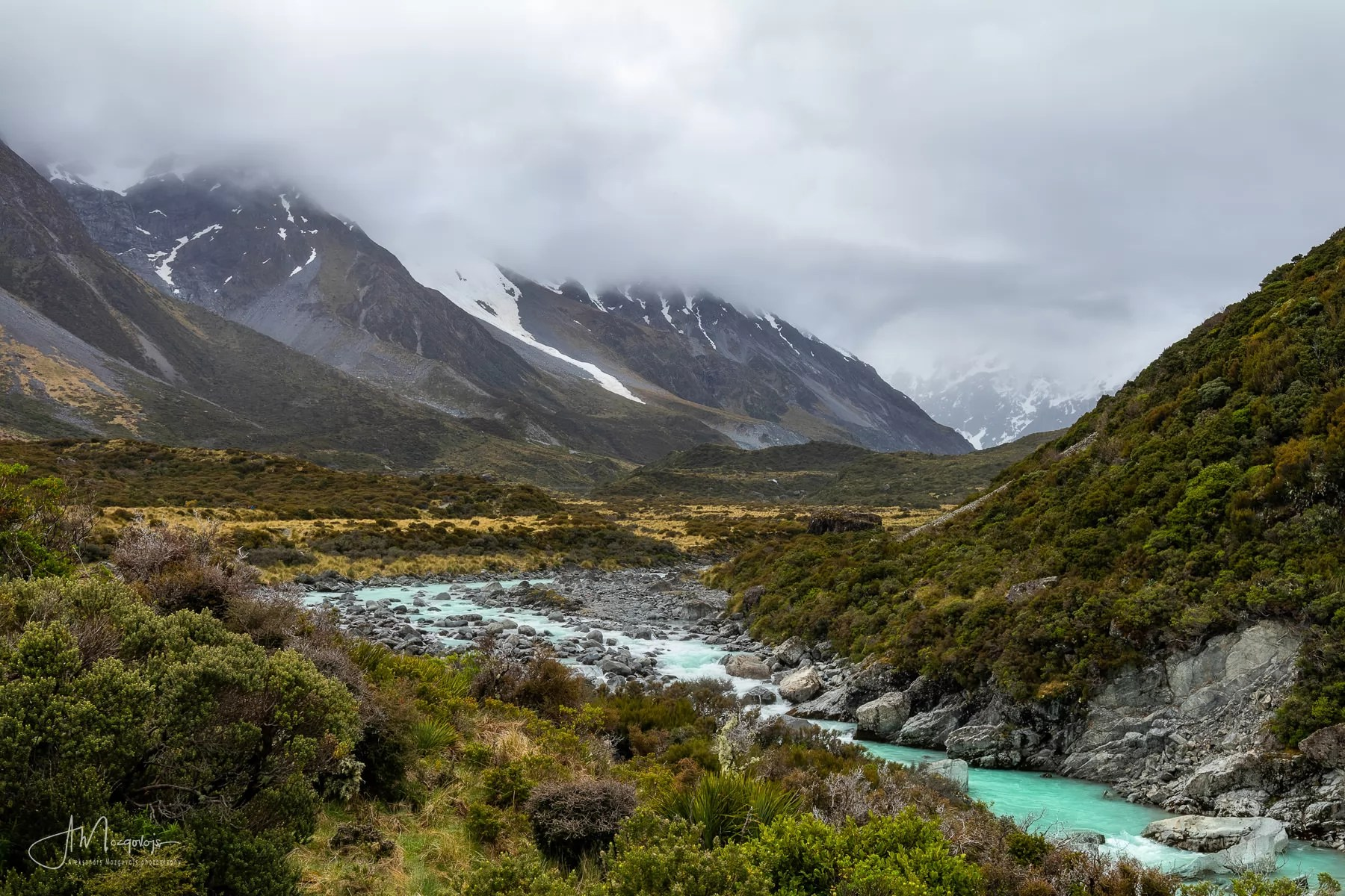 Hooker Valley Track looks a bit boring under the clouds