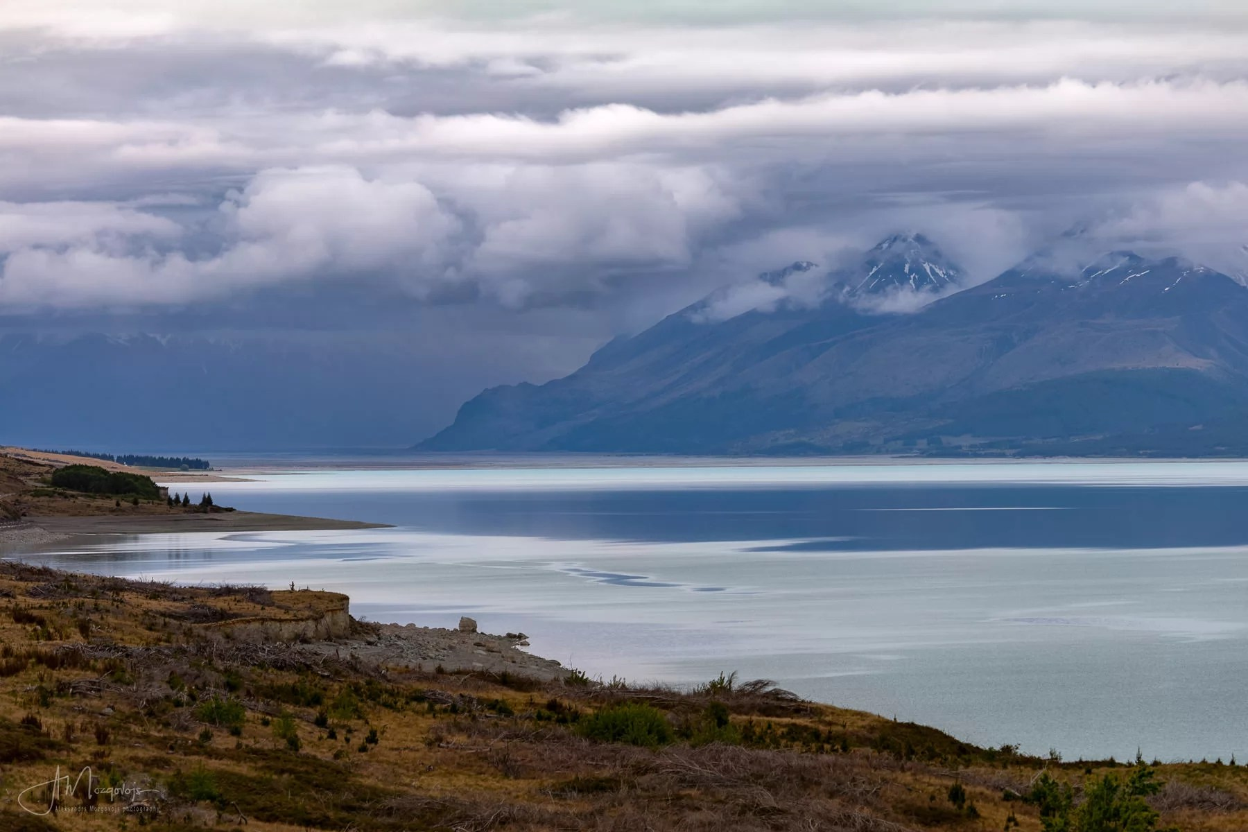 Lake Pukaki under the moody skies