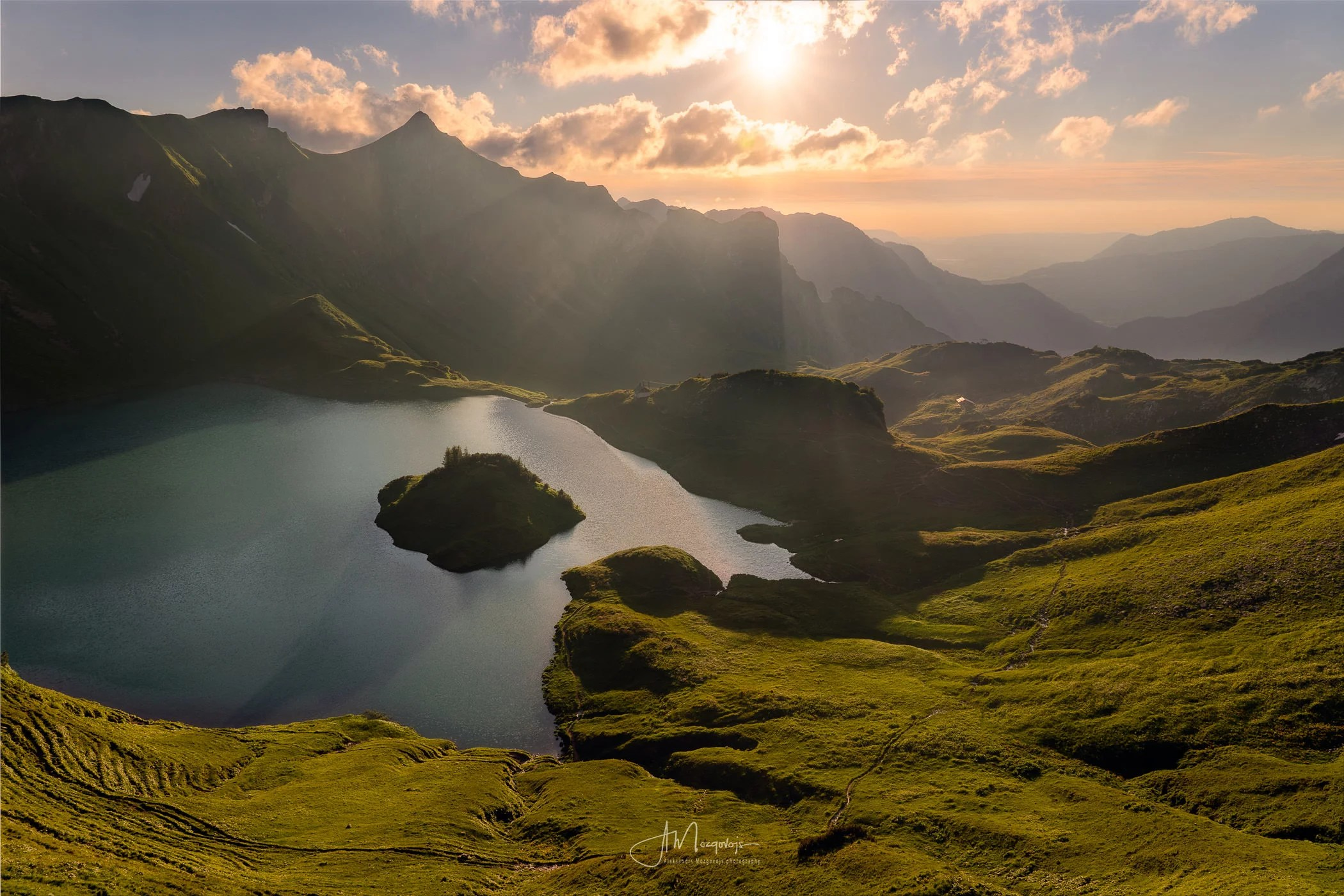Lake Schrecksee during golden hour