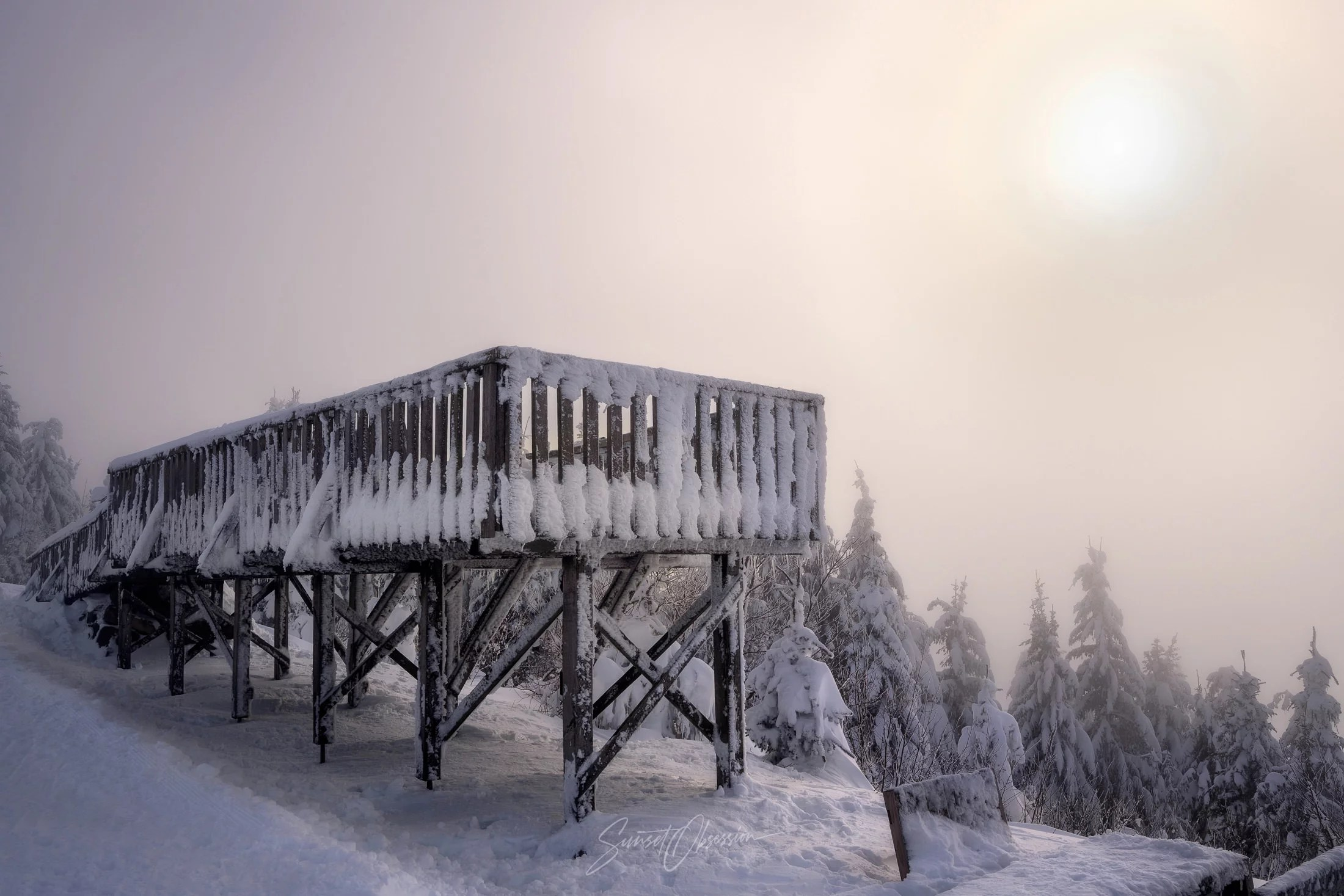 A frozen viewing platform in the midst of Black Forest, Germany