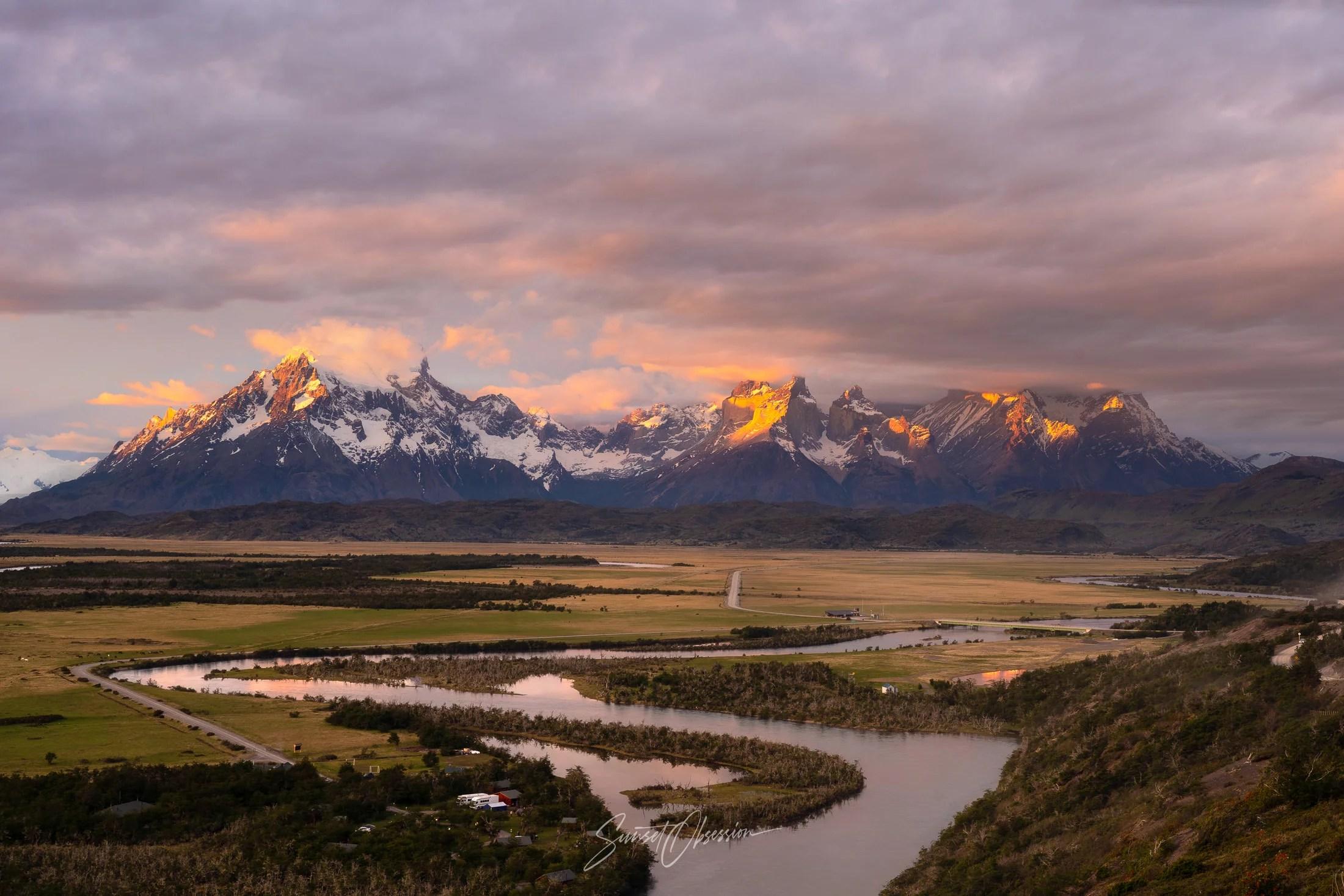 Sunset over Torres del Paine National Park