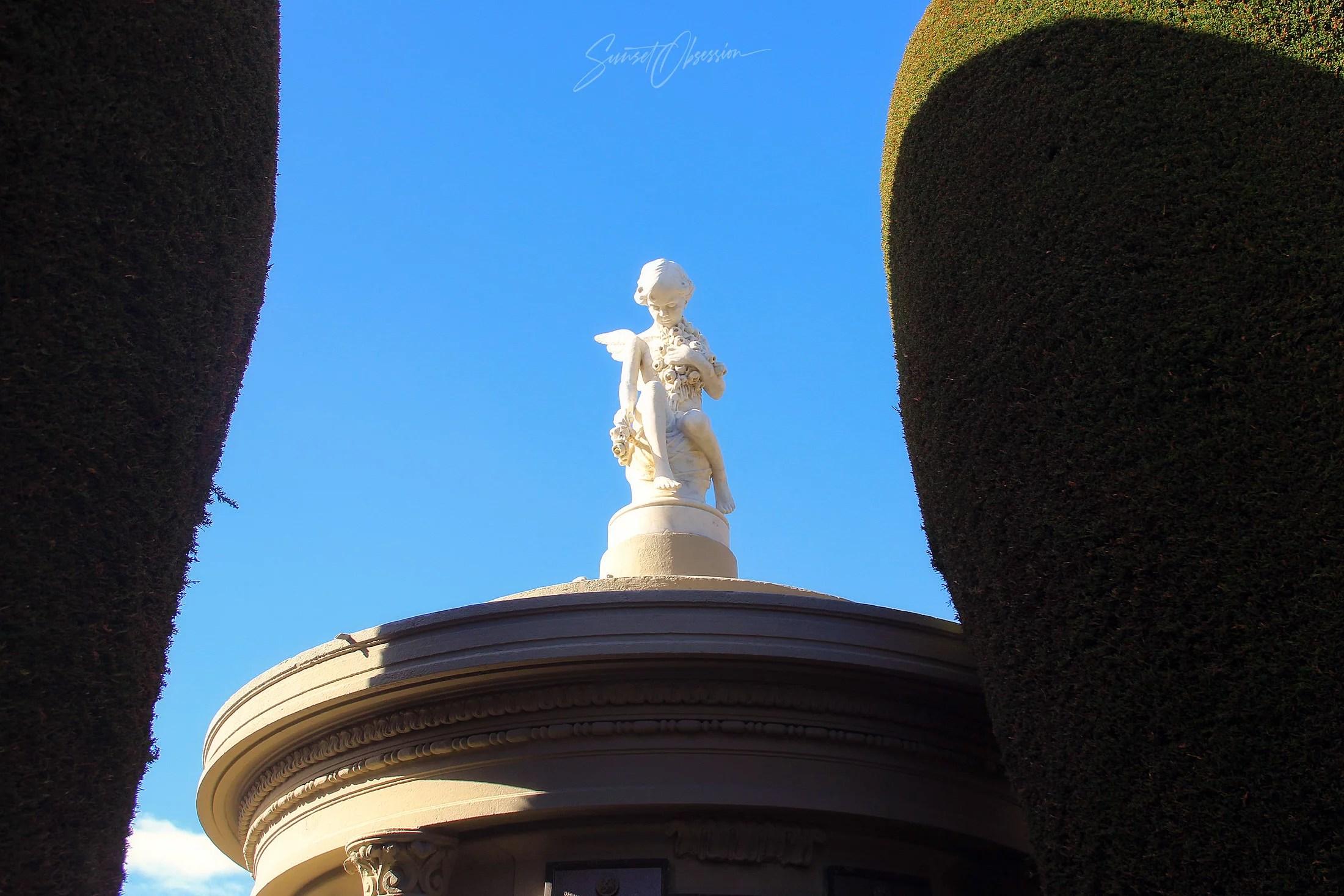 A sculpture on the Sara Braun Cemetery in Punta Arenas