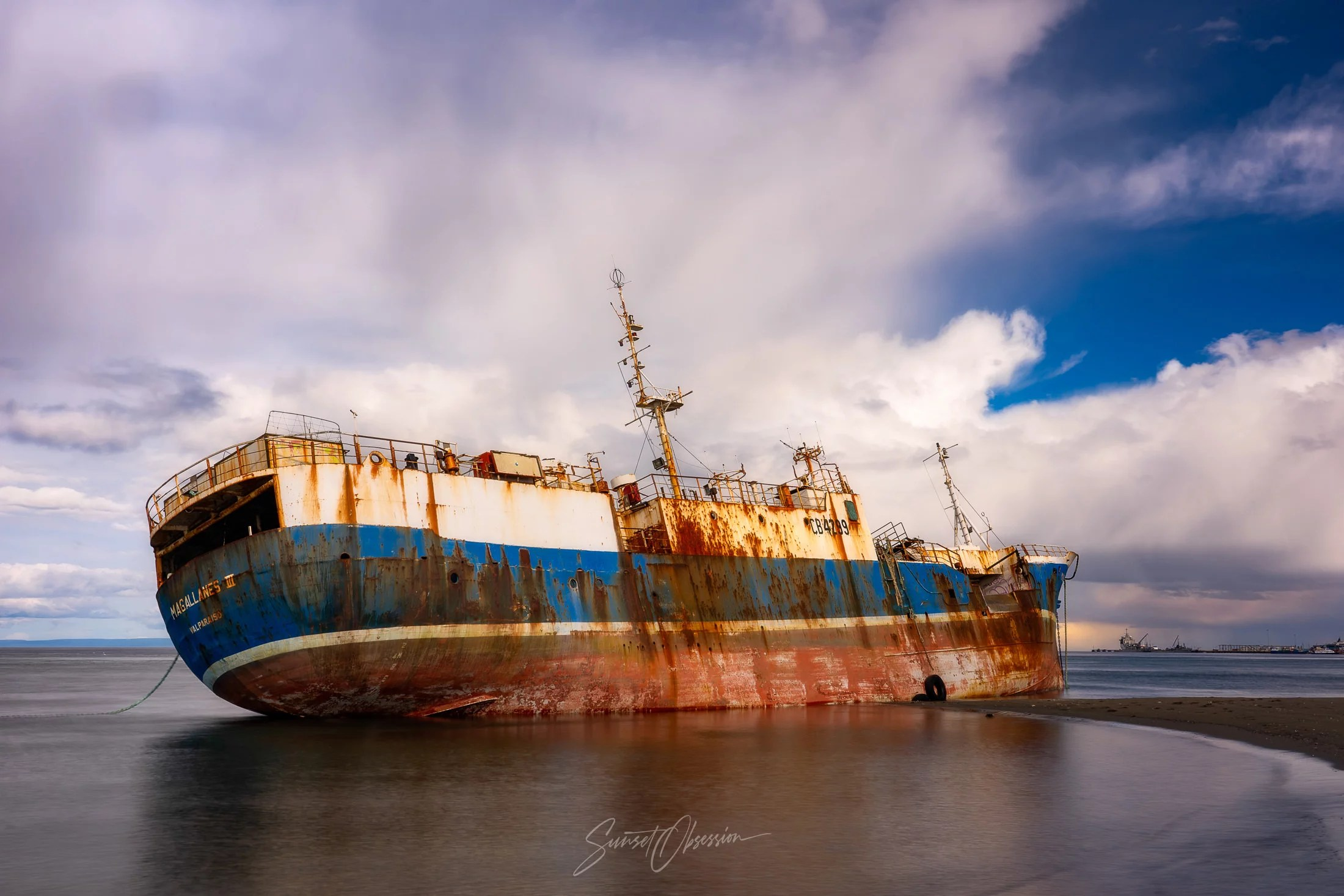 The shipwreck of Magallanes III in Punta Arenas