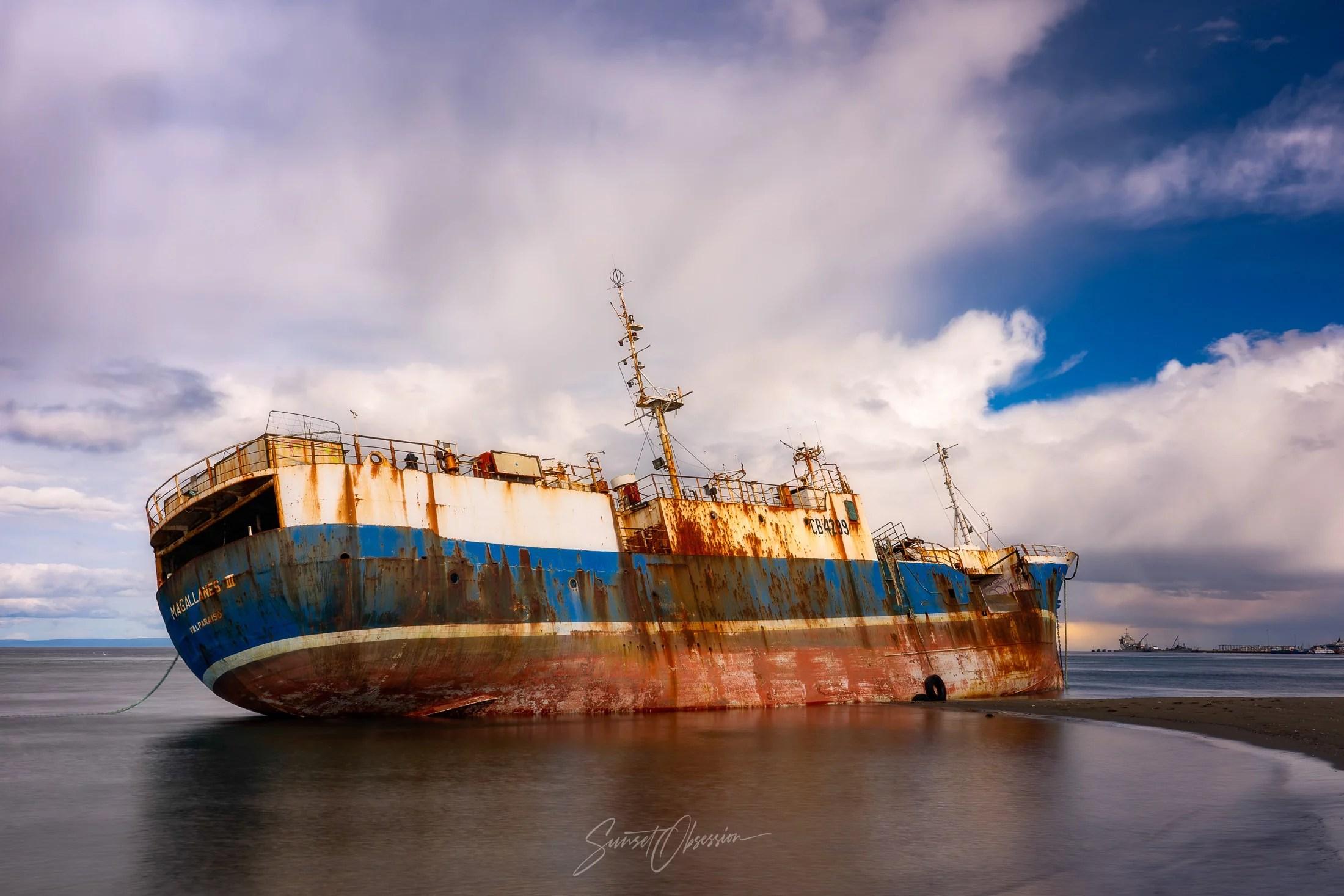The shipwreck of Magallanes III in Punta Arenas
