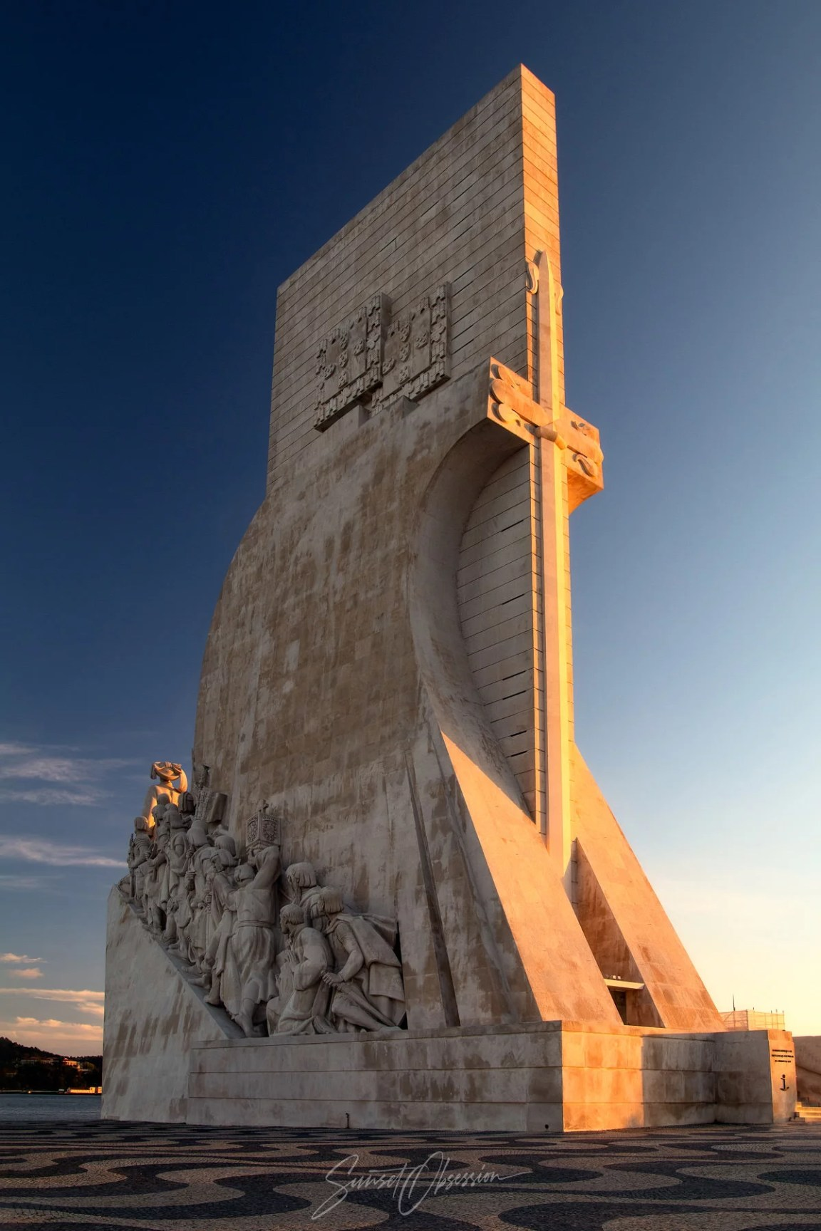 Monument of Discoveries during the golden hour, Lisbon, Portugal