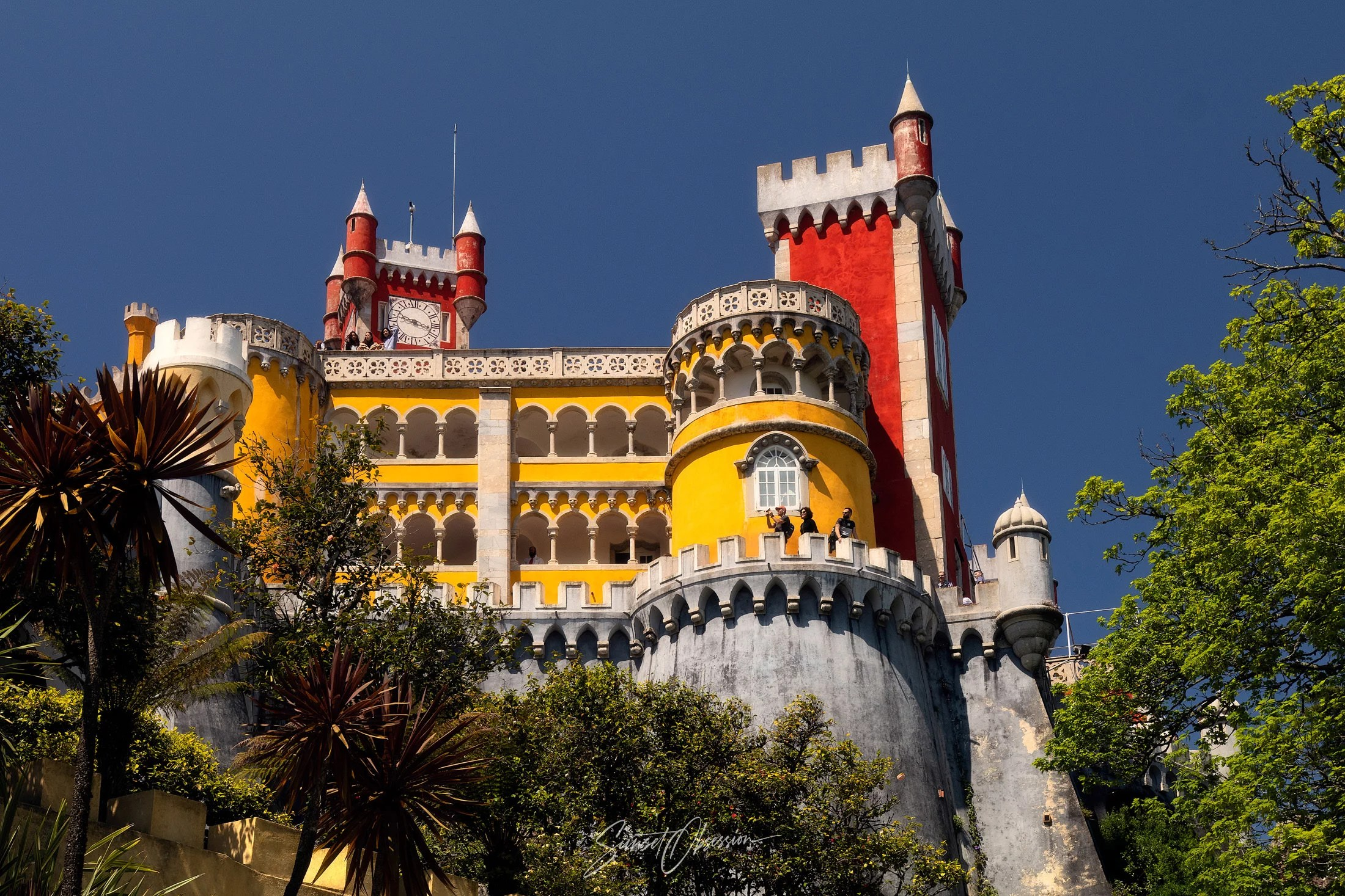 Pena Palace and its galleries from up close, Sintra, Portugal