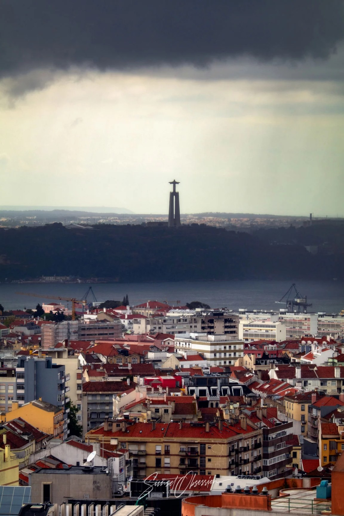 Lisbon under the storm, view from the Amoreiras roofdeck