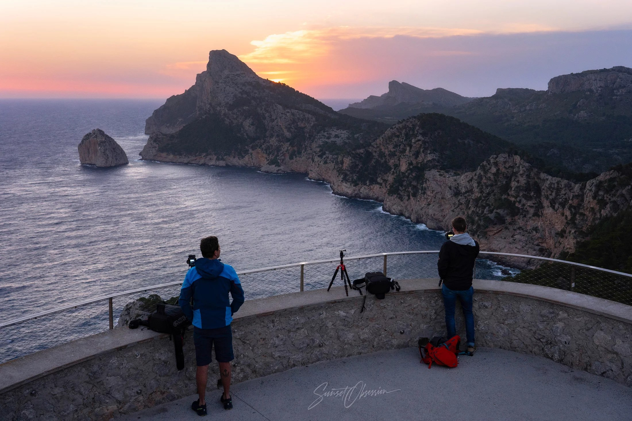 Behind the Scenes at Cap de Formentor on Sunrise, Mallorca, Spain