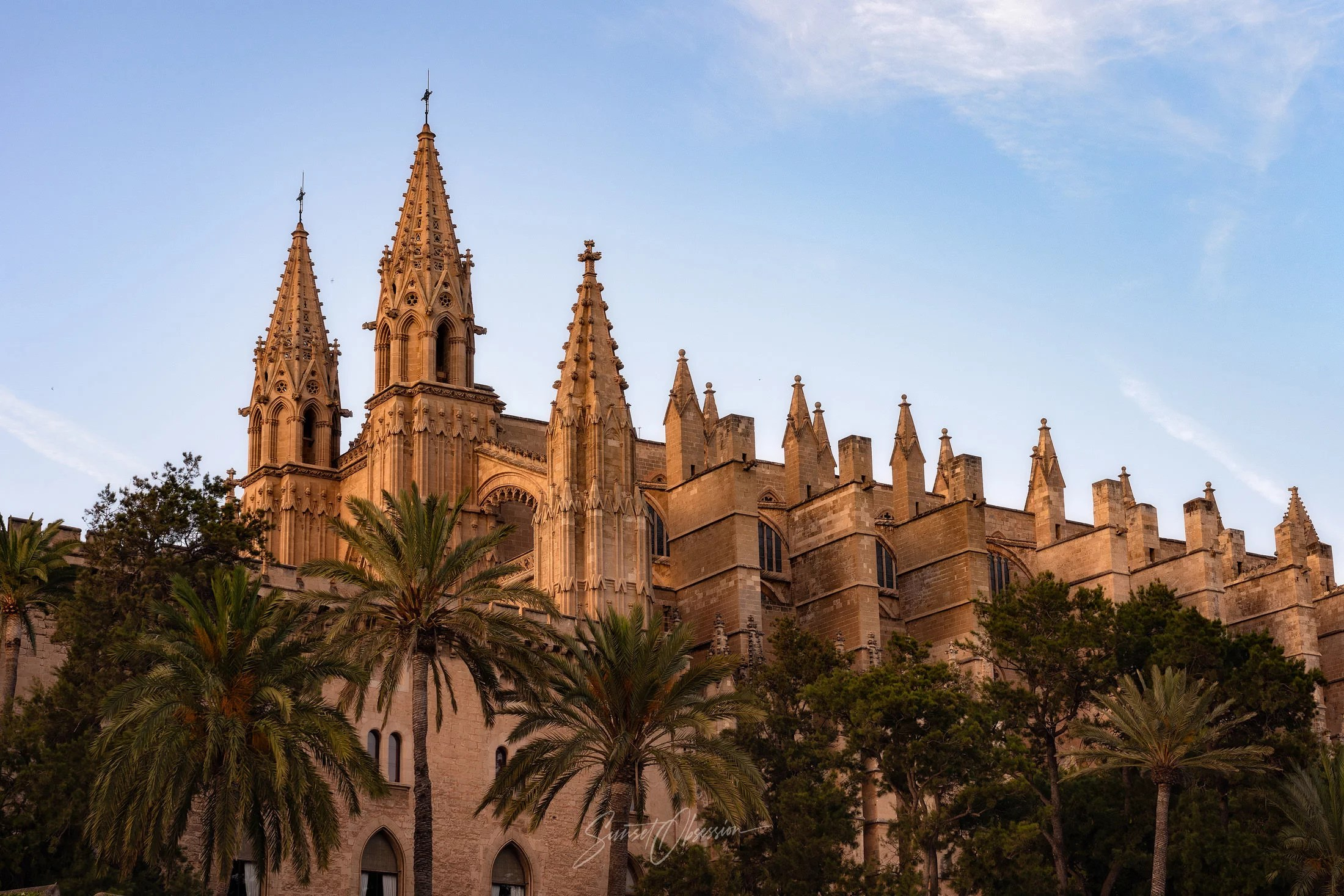 Mallorca Cathedral in the soft evening light, the city of Palma, Spain