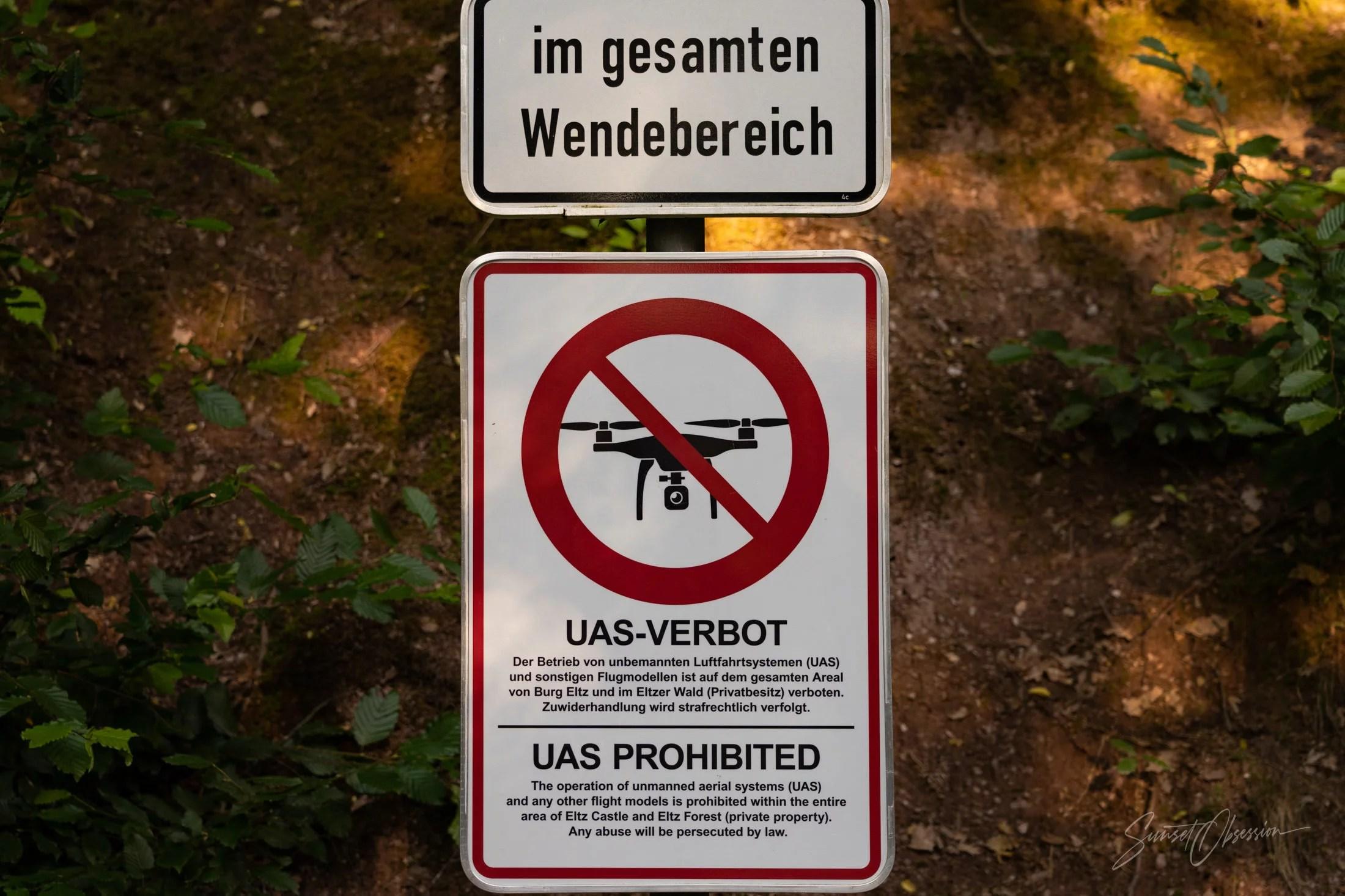 No drones allowed sign near Burg Eltz
