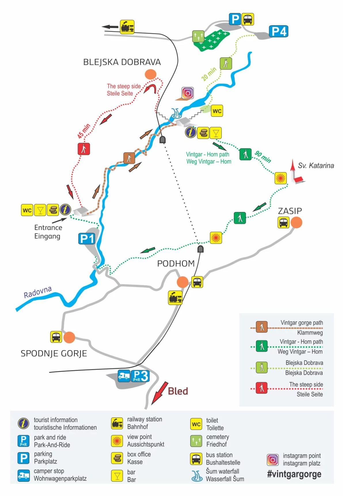 The official Vintgar Gorge map