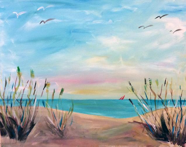 Paint Party Beach Scene