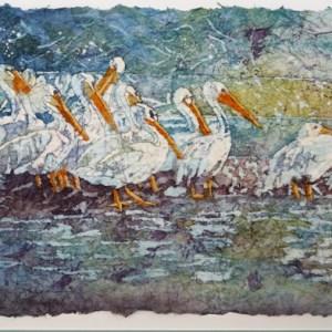 Pelicans batik by Pat Smelkoff