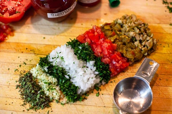 chopped ingredients on cutting board