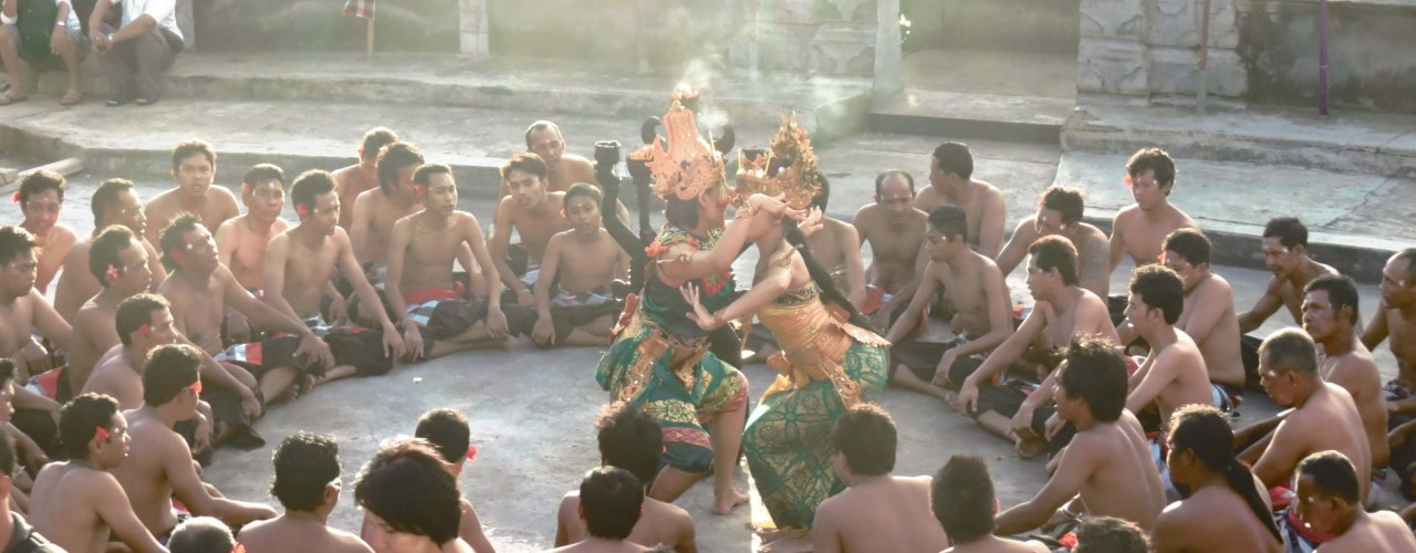 Kecak dance performance in Uluwatu before sunset