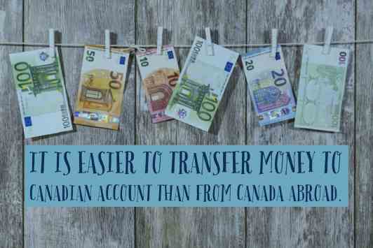 easier to send money from a canadian account than from canada (1)