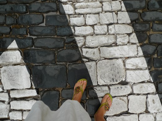 Cobbled street toes