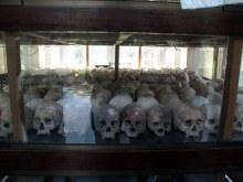 Skulls of some of the victims, displayed in the memorial.