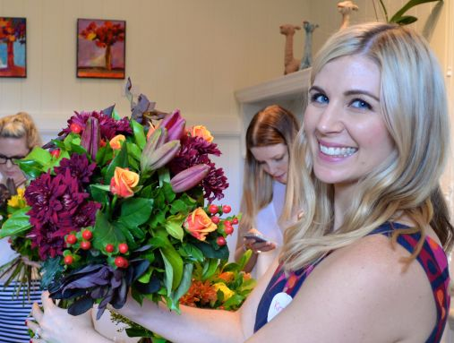 Kirst and her bouquet