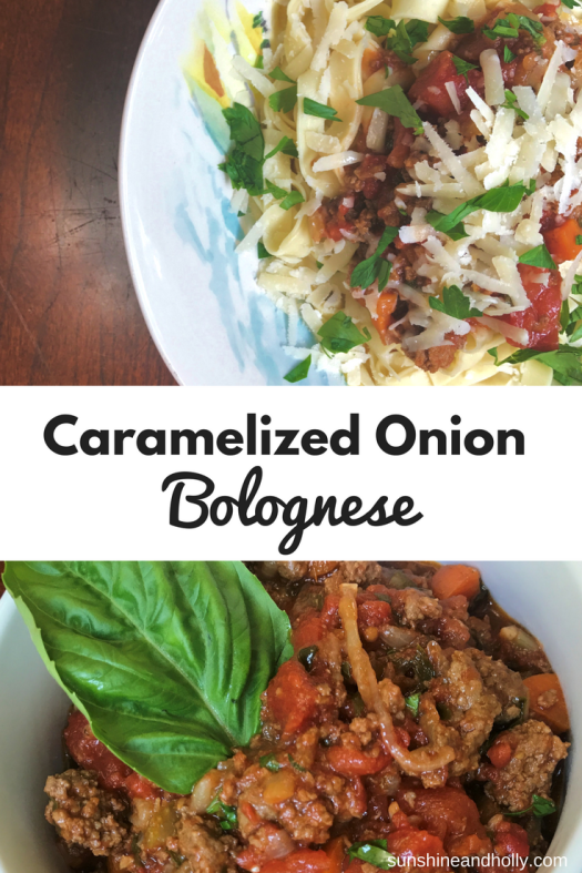 Caramelized Onion Bolognese | sunshineandholly.com