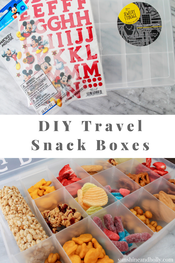 DIY Travel Snack Box for Kids | sunshineandholly.com | personalized Disney tackle box snacks for road-trips | road trips | tips for road trips with kids | family vacation | mickey mouse