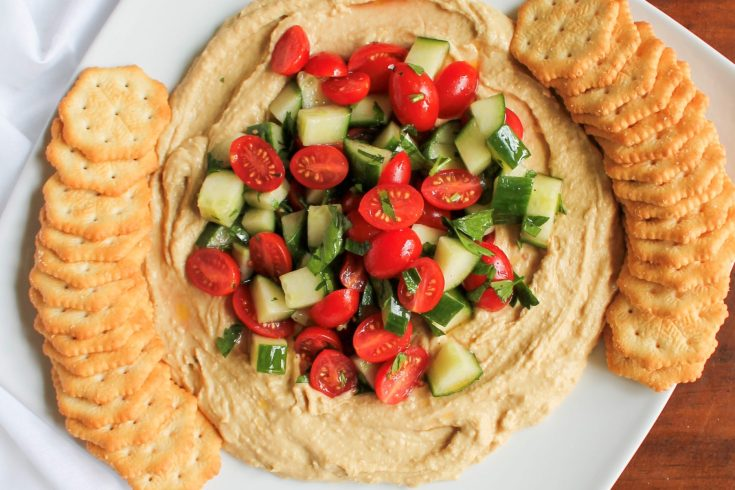 Quick and Easy Christmas Appetizer - Hummus Dip with Tomato and Cucumber Salad | sunshineandholly.com