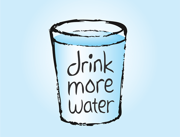 Drink More Water label on a hand drawn cup of water