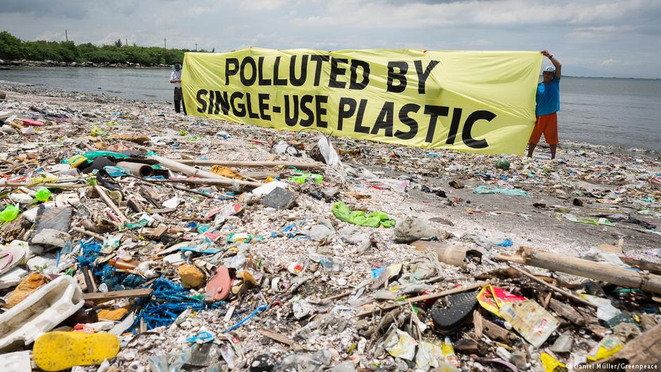 Plastics on beach