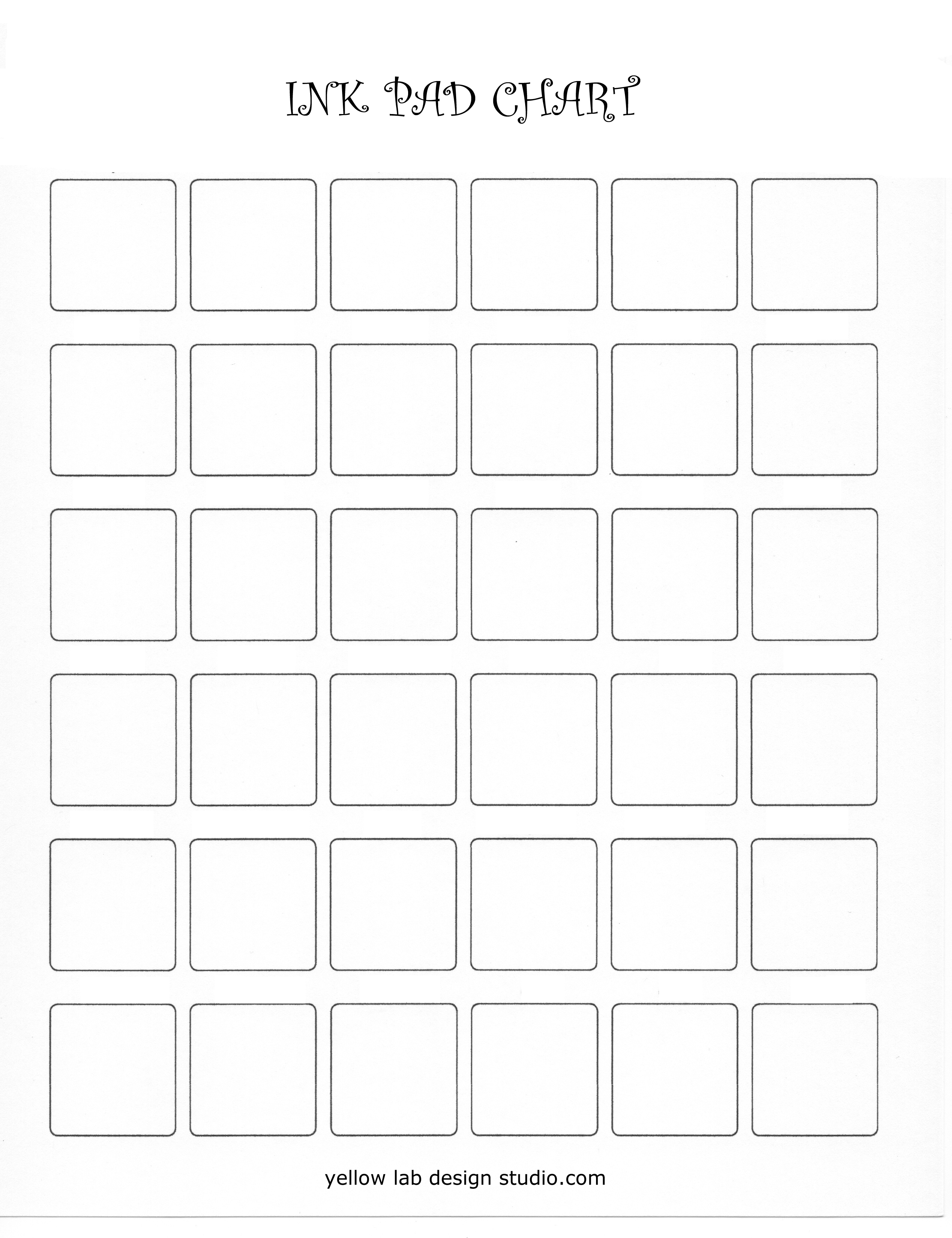 Ink Pad Colour Chart Blank