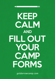 Keep Calm and Fill Out Your Camp Forms
