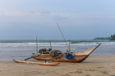 fish boats in Weligama bay