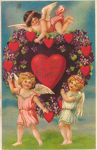 victorian-valentines-card-three-cherubs-purple-flowers-hearts