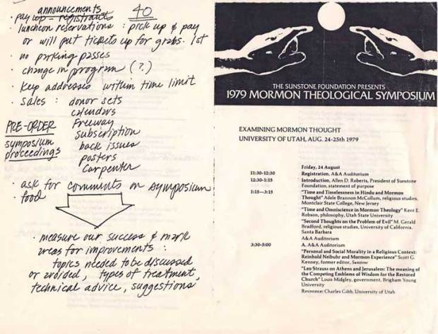 Allen Roberts wrote his introductory notes for the first Sunstone Symposium on the back of this program.