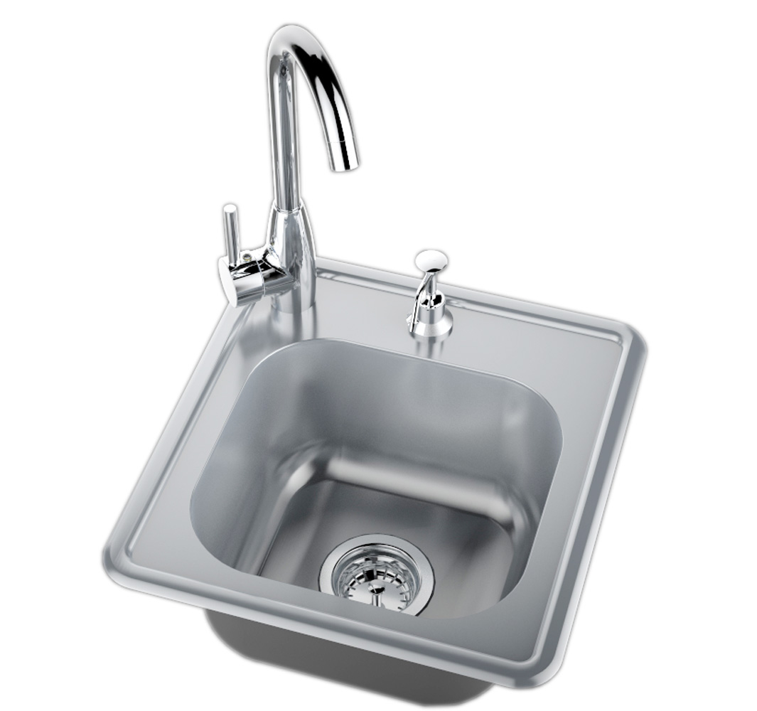 drop in single sink w hot cold water faucet